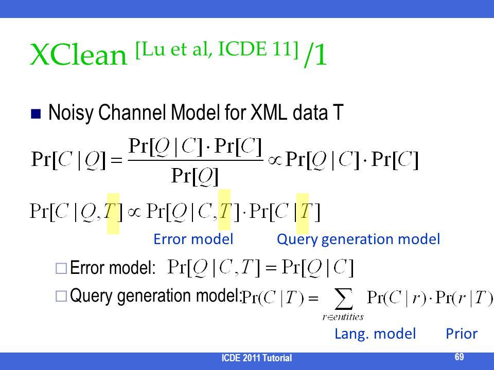 XClean [Lu et al, ICDE 11] /1 Noisy Channel Model for XML data T